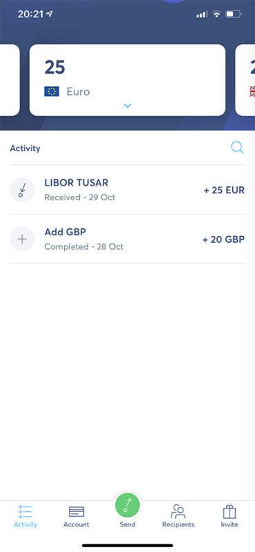 TransferWise - přehled účtu