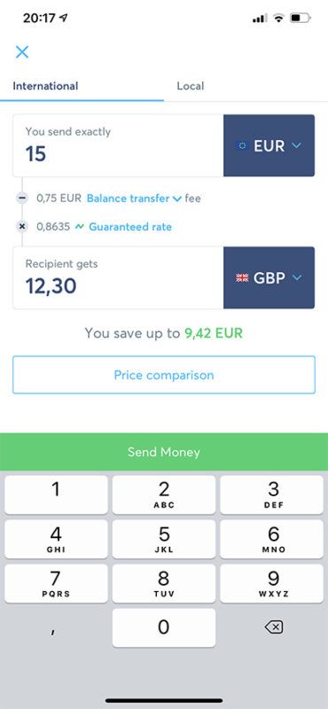 TransferWise - převod peněz
